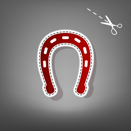 Horseshoe sign illustration. Vector. Red icon with for applique from paper with shadow on gray background with scissors.