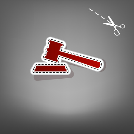 Justice hammer sign. Vector. Red icon with for applique from paper with shadow on gray background with scissors.