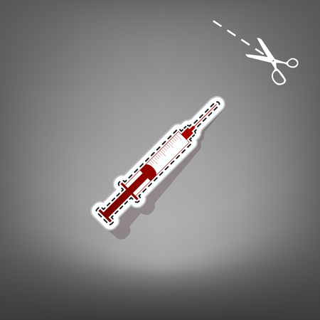 Syringe sign illustration. Vector. Red icon with for applique from paper with shadow on gray background with scissors.