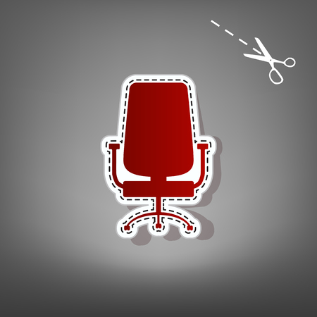 spinning: Office chair sign. Vector. Red icon with for applique from paper with shadow on gray background with scissors. Illustration
