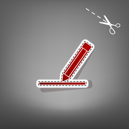 Pencil sign illustration. Vector. Red icon with for applique from paper with shadow on gray background with scissors.