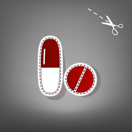 Medical pills sign. Vector. Red icon with for applique from paper with shadow on gray background with scissors. Illustration