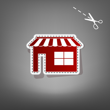 Store sign illustration. Vector. Red icon with for applique from paper with shadow on gray background with scissors.