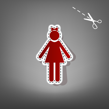 mother and baby: Girl sign illustration. Vector. Red icon with for applique from paper with shadow on gray background with scissors. Illustration