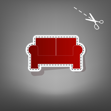 round chairs: Sofa sign illustration. Vector. Red icon with for applique from paper with shadow on gray background with scissors. Illustration