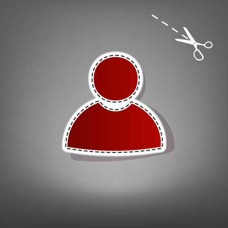 User sign illustration. Vector. Red icon with for applique from paper with shadow on gray background with scissors.