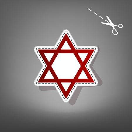 Shield Magen David Star. Symbol of Israel. Vector. Red icon with for applique from paper with shadow on gray background with scissors. Illustration