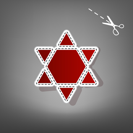 Shield Magen David Star Inverse. Symbol of Israel inverted. Vector. Red icon with for applique from paper with shadow on gray background with scissors.