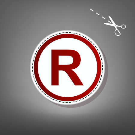 Registered Trademark sign. Vector. Red icon with for applique from paper with shadow on gray background with scissors.