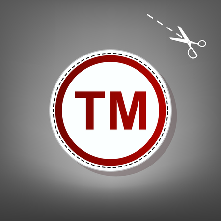 Trade mark sign. Vector. Red icon with for applique from paper with shadow on gray background with scissors. Illustration