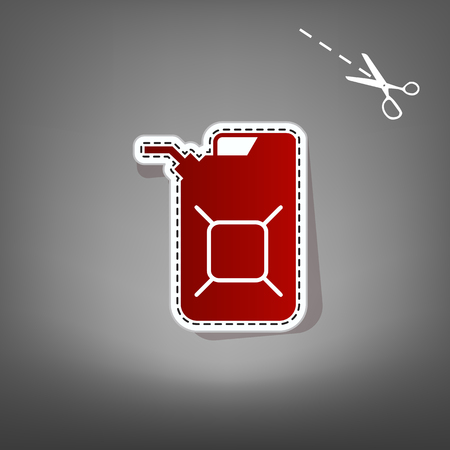 filling station: Jerrycan oil sign. Jerry can oil sign. Vector. Red icon with for applique from paper with shadow on gray background with scissors.