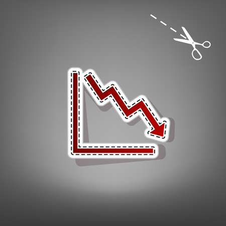exchange loss: Arrow pointing downwards showing crisis. Vector. Red icon with for applique from paper with shadow on gray background with scissors.