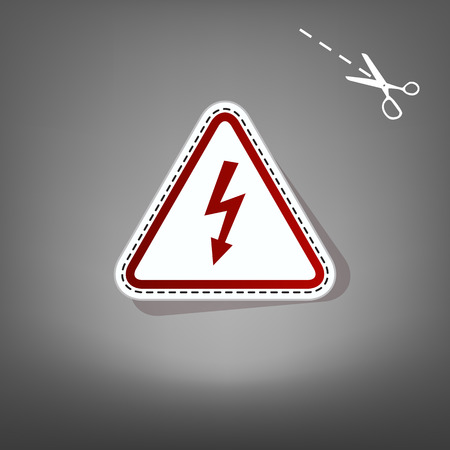volte: High voltage danger sign. Vector. Red icon with for applique from paper with shadow on gray background with scissors.