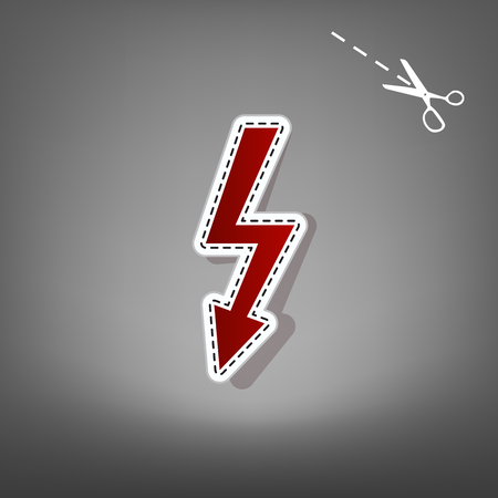 High voltage danger sign. Vector. Red icon with for applique from paper with shadow on gray background with scissors.