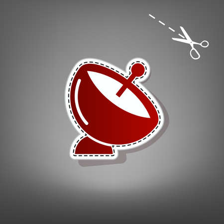 Satellite dish sign. Vector. Red icon with for applique from paper with shadow on gray background with scissors.