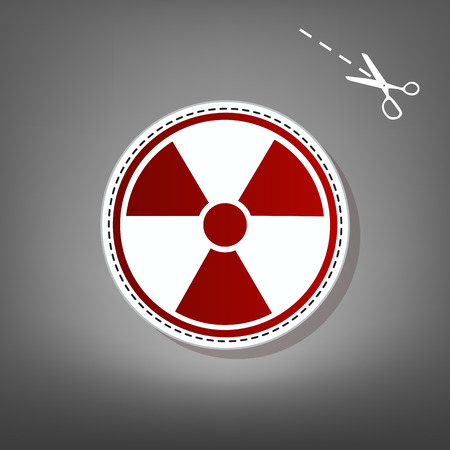 Radiation Round sign. Vector. Red icon with for applique from paper with shadow on gray background with scissors.