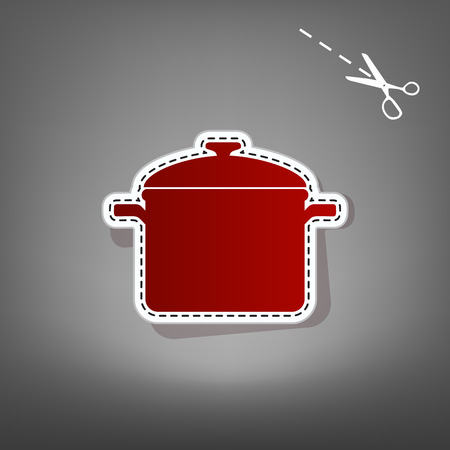 Cooking pan sign. Vector. Red icon with for applique from paper with shadow on gray background with scissors. Illustration