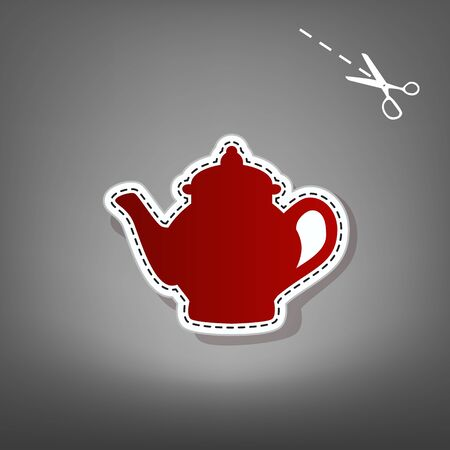 Tea maker sign. Vector. Red icon with for applique from paper with shadow on gray background with scissors.