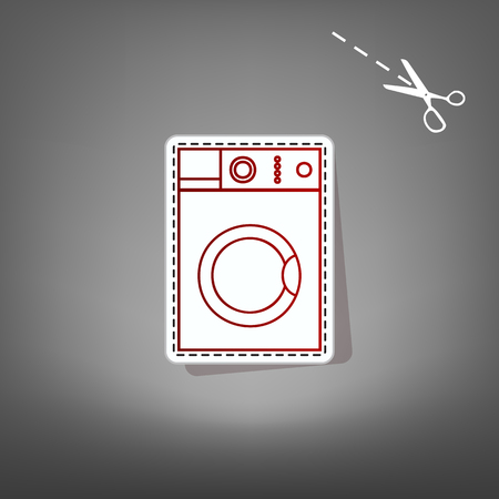 major household appliance: Washing machine sign. Vector. Red icon with for applique from paper with shadow on gray background with scissors. Stock Photo