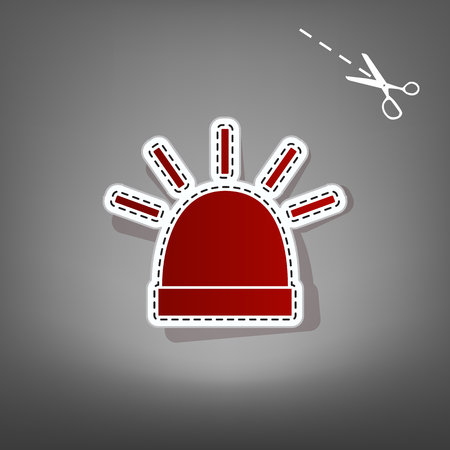 Police single sign. Vector. Red icon with for applique from paper with shadow on gray background with scissors.