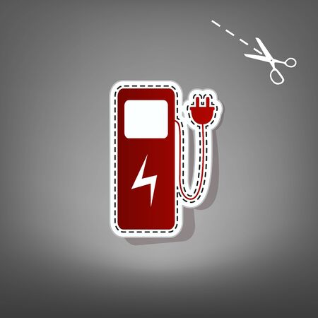 Electric car charging station sign. Vector. Red icon with for applique from paper with shadow on gray background with scissors.
