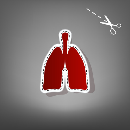 Human anatomy. Lungs sign. Vector. Red icon with for applique from paper with shadow on gray background with scissors.