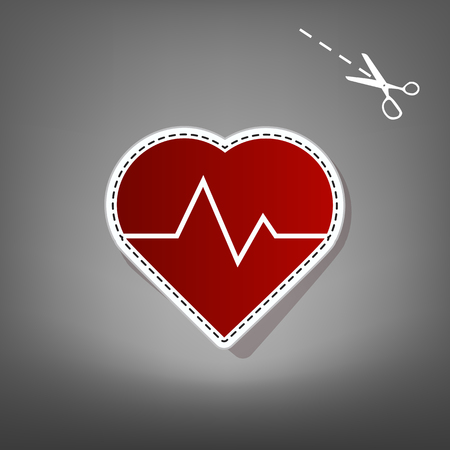 Heartbeat sign illustration. Vector. Red icon with for applique from paper with shadow on gray background with scissors.