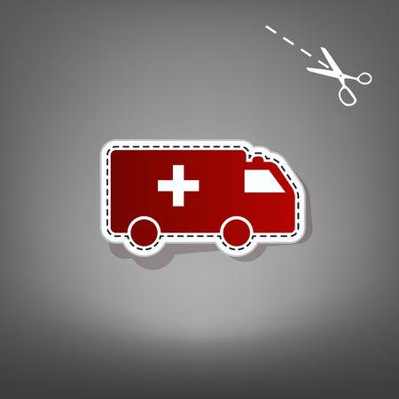 Ambulance sign illustration. Vector. Red icon with for applique from paper with shadow on gray background with scissors.