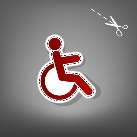 invalid: Disabled sign illustration. Vector. Red icon with for applique from paper with shadow on gray background with scissors.