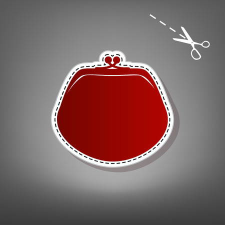 category: Purse sign illustration. Vector. Red icon with for applique from paper with shadow on gray background with scissors.