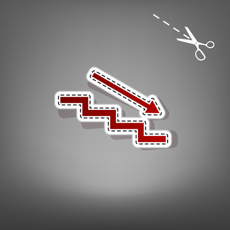 Stair down with arrow. Vector. Red icon with for applique from paper with shadow on gray background with scissors. Illustration