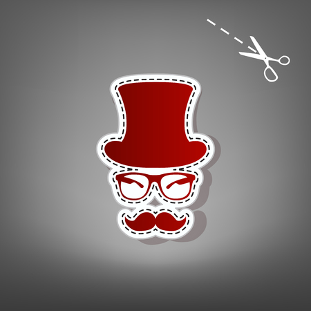 Hipster accessories design. Vector. Red icon with for applique from paper with shadow on gray background with scissors.