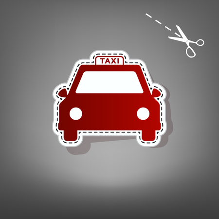 Taxi sign illustration. Vector. Red icon with for applique from paper with shadow on gray background with scissors.