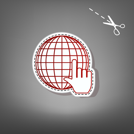 Earth Globe with cursor. Vector. Red icon with for applique from paper with shadow on gray background with scissors.