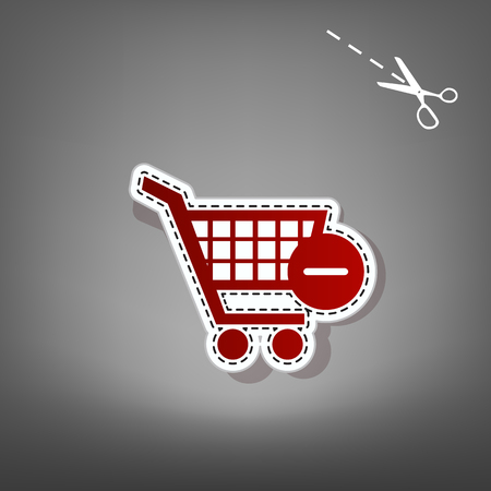 Vector Shopping Cart with Remove sign. Vector. Red icon with for applique from paper with shadow on gray background with scissors. Illustration