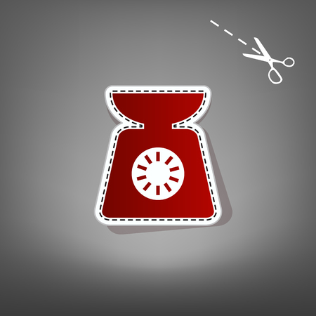 ounce: Kitchen scales sign. Vector. Red icon with for applique from paper with shadow on gray background with scissors. Illustration