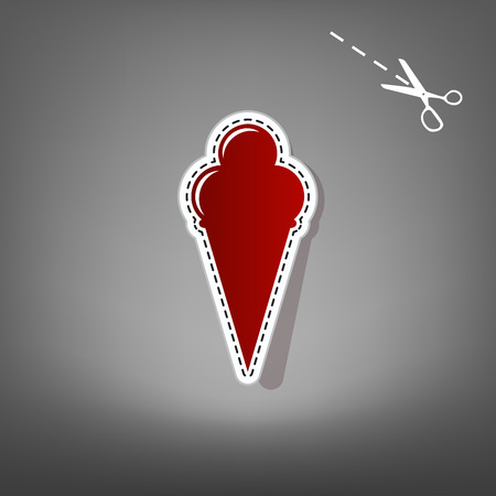 Ice Cream sign. Vector. Red icon with for applique from paper with shadow on gray background with scissors. Illustration