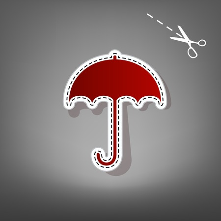 nylon: Umbrella sign icon. Rain protection symbol. Flat design style. Vector. Red icon with for applique from paper with shadow on gray background with scissors. Illustration