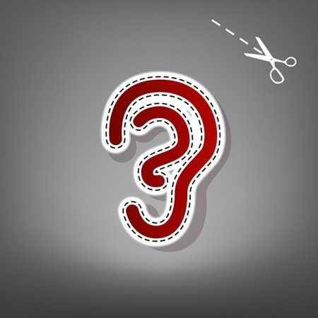 audible: Human anatomy. Ear sign. Vector. Red icon with for applique from paper with shadow on gray background with scissors.