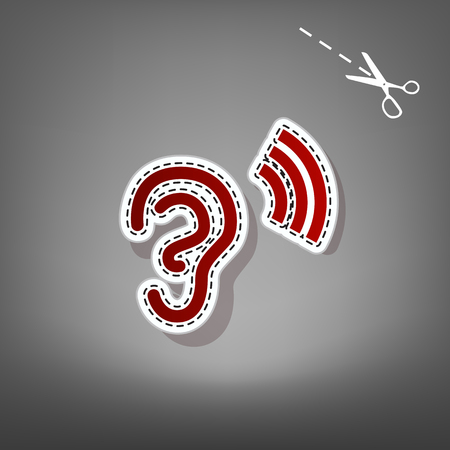 audible: Human anatomy. Ear sign with soundwave. Vector. Red icon with for applique from paper with shadow on gray background with scissors. Illustration