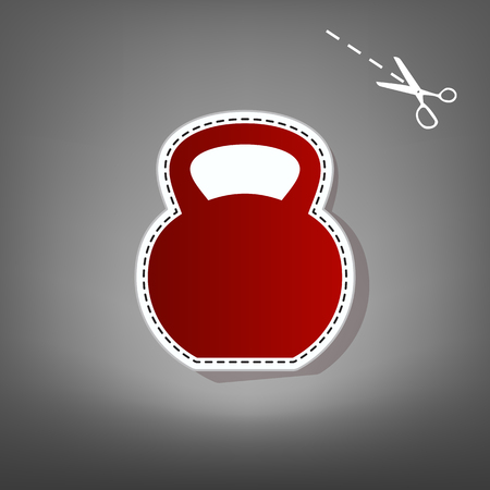 Fitness Dumbbell sign. Vector. Red icon with for applique from paper with shadow on gray background with scissors.
