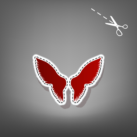 Wings sign illustration. Vector. Red icon with for applique from paper with shadow on gray background with scissors.