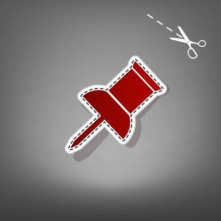Pin push sign. Vector. Red icon with for applique from paper with shadow on gray background with scissors.