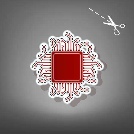 CPU Microprocessor illustration. Vector. Red icon with for applique from paper with shadow on gray background with scissors. Illustration