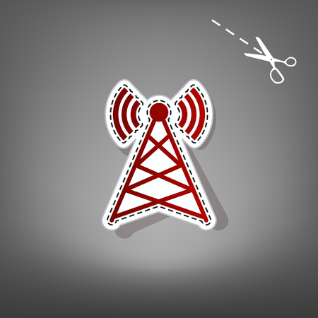tv tower: Antenna sign illustration. Vector. Red icon with for applique from paper with shadow on gray background with scissors.