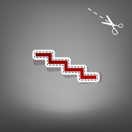 Stair down sign. Vector. Red icon with for applique from paper with shadow on gray background with scissors.