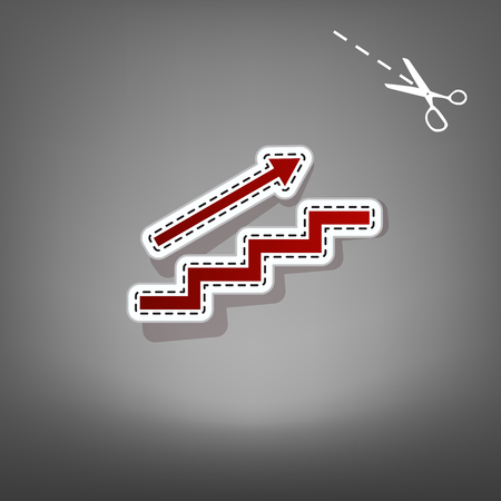Stair with arrow. Vector. Red icon with for applique from paper with shadow on gray background with scissors.