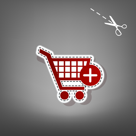 Shopping Cart with add Mark sign. Vector. Red icon with for applique from paper with shadow on gray background with scissors. Illustration