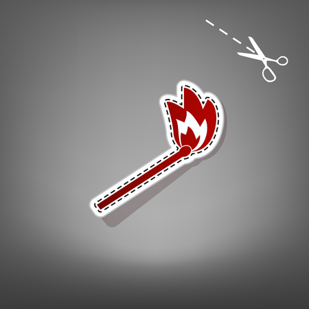 extinguishing: Match sign illustration. Vector. Red icon with for applique from paper with shadow on gray background with scissors.