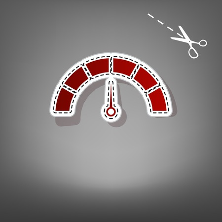 Speedometer sign illustration. Vector. Red icon with for applique from paper with shadow on gray background with scissors.